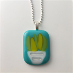Little Pot of Succulents Fused Glass Pendant